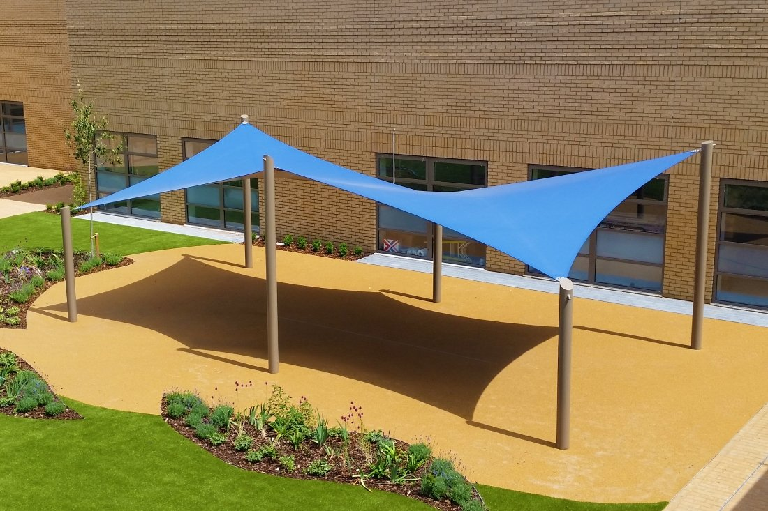 Double Azure Shade Sail Canopy by Tensile Fabric Structures Ltd