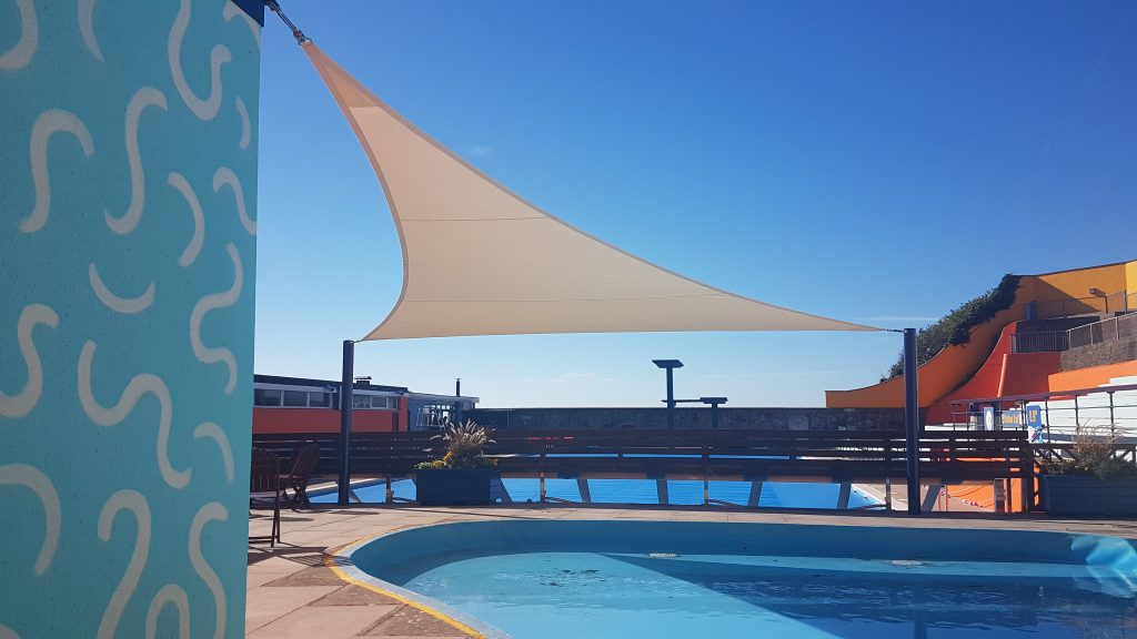 Portishead Open Air Pool Shade Sail by Tensile Fabric Structures Ltd