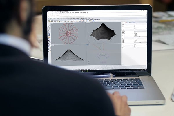 Tensile structure design with CAD software