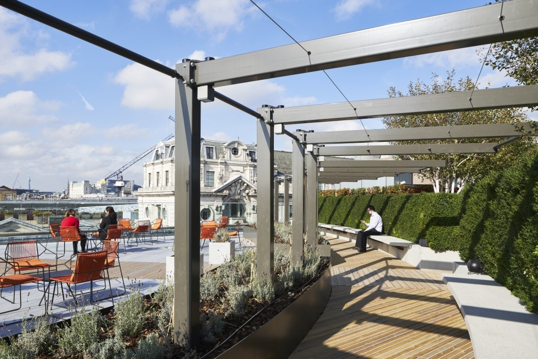 10 Queen Street Place, London. Bespoke Pergola by Tensile Fabric Structures Ltd