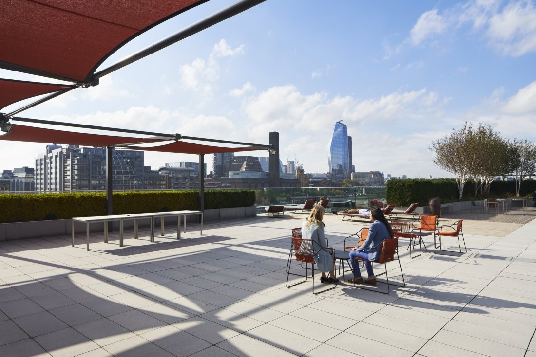 10 Queen Street Place, London. Bespoke Shade Sails by Tensile Fabric Structures Ltd